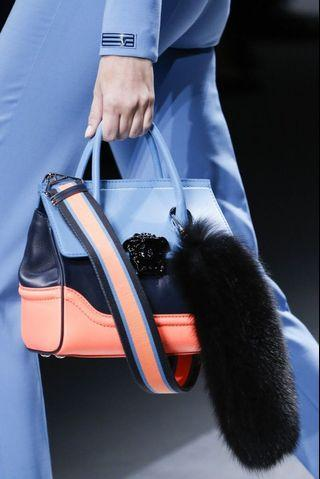 VERSACE fox fur bag charm