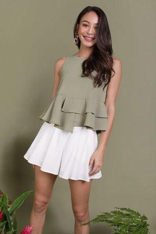 The Tinsel Rack Cece Tiered Top (Sage Green)