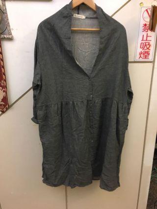 國外尺碼 大尺寸灰洋裝
