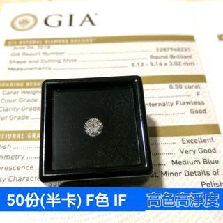 GIA鑽石 F色 IF 50份(半卡)