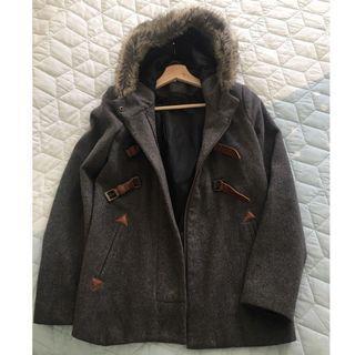 Charcoal Grey Winter Wool Coat with Fur Trim Hood - Sz 10
