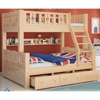 實木 碌架床 堅分合 圓床欄 雙層床 上下床 實木床 單人床 可訂造 租房 劏房 公屋 私樓 190614 上三下四