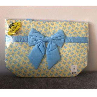 NaRaYa Fabric Cotton 365 Yellow with Blue Ribbons Medium Shoulder Handbag