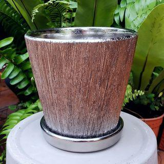 Ceramic Flower/Plant Pot with Plate - Chrome Silver (Round W13.5 H14 cm)