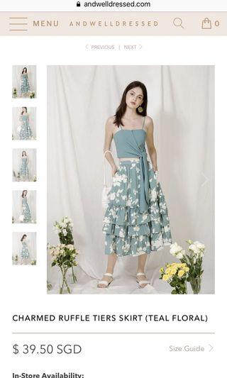AWD Charmed Ruffle Tier Skirt (Teal Floral) Size S