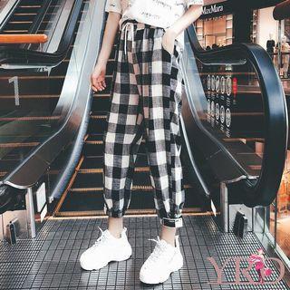 korean checkered long pants