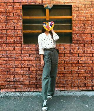 【二手】墨綠色長版寬褲