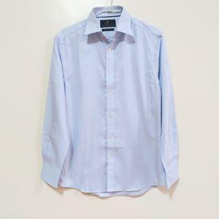 🚚 M&S 純棉修身淺藍男仕襯衫(可換物)