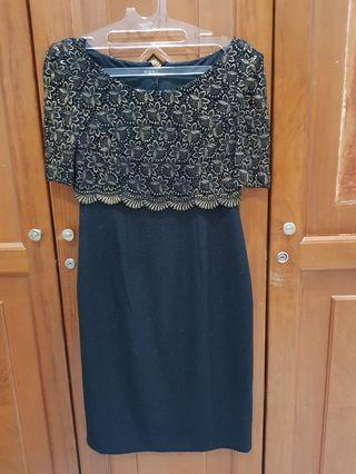 ❤ Mididress black gold pesta