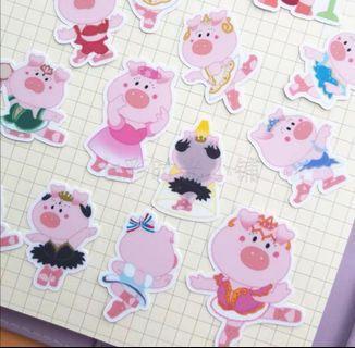 就愛芭蕾豬(款式-03)一套40枚Line貼貼紙包手帳貼紙芭蕾女孩可愛學生送禮文具跳舞生日禮物手工實用老師舞蹈教室
