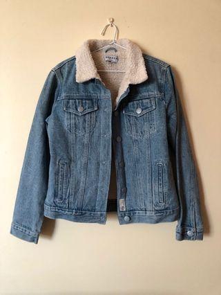 Denim jacket with wool lining