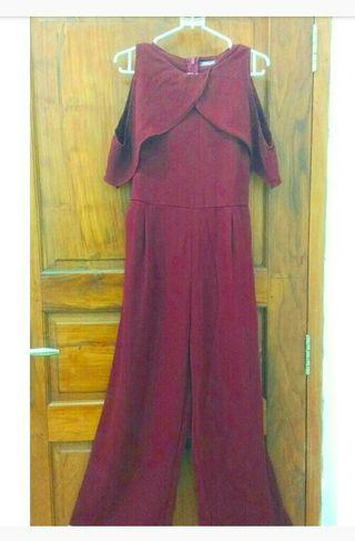 Jumpsuits merah maron bahan adem