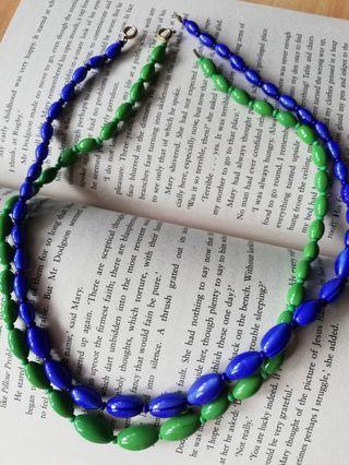 Vintage Blue & Green Glass Necklace