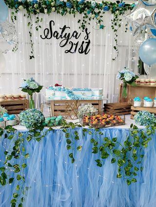 party  backdrop&Dessert table&helium balloons