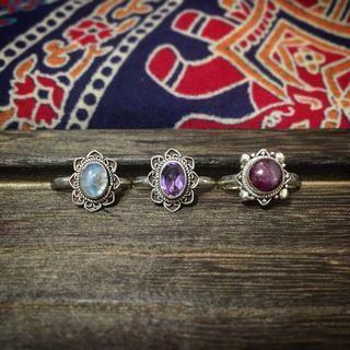 民族印度925銀刻花天然石戒指