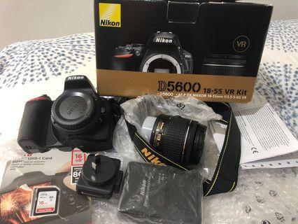 Nikon D5600 DSLR Camera 18-55mm Lens Kit + 16gb sdhc card