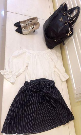 我的法式優雅 露肩ㄧ字領洋裝 蝴蝶結可繫前或後 上班休閒ㄧ套搞定