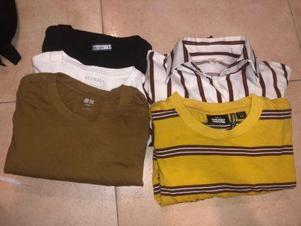 striped and plain tops