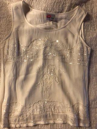 White sequin blouse