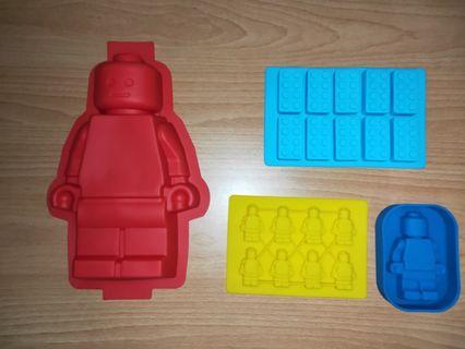 Brand New Lego Silicone Mould Set of Four for baking, Cake, Jelly, Icecubes, Chocolates