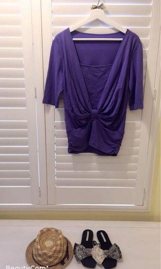 我的法式優雅 假兩件上衣 可搭配 pencil skirt 美國帶回 寬鬆 彈性佳 薰衣草紫