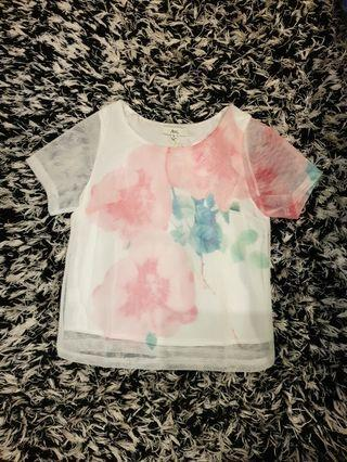 [SIZES UK: 6,8,10,12] White Pastel Floral Mesh T-shirt