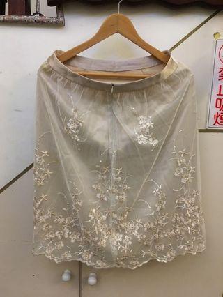 國外帶回白蕾絲繡花裙