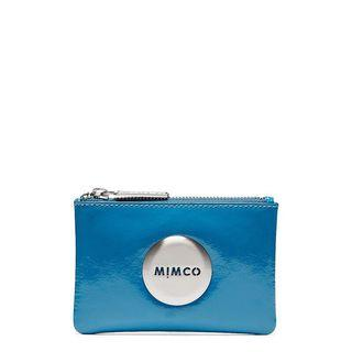 Mimco Small Pouch Patent Leather Pool Blue