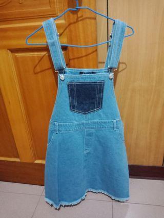 🚚 吊帶裙毛邊虛邊牛仔時尚可愛甜美成熟流行韓版