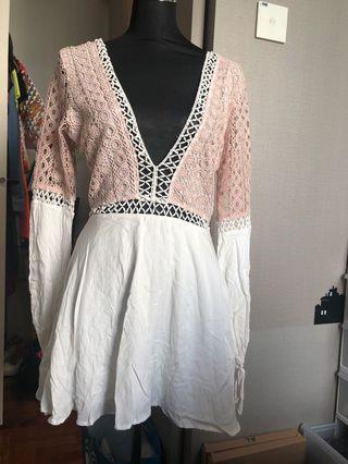 🚚 Sexy white pink romper skirt
