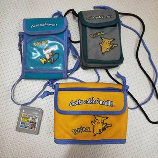 Vintage Gameboy Pokémon Pikachu & Raichu Bag Accessories & Cartridge