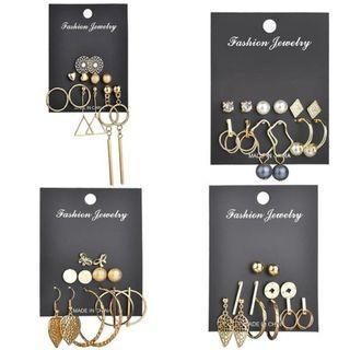 9 Pairs/Set Mix Design Rhinestone Stud Earrings