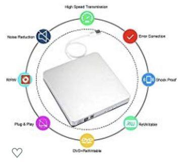 (3478) External DVD Drive,USB 2.0 Slim Portable External CD/DVD-RW Player/Writer/Burner for Apple MacBook, Laptops, Desktops, Notebooks. (Silver)