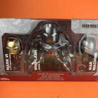 全新 Hot Toys Cosbaby Whiplash Mark 2 Iron Man Mark 6 & War Machine Battle Damaged