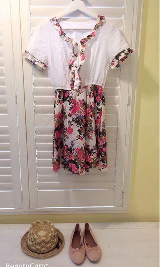 🚚 我的法式優雅 棉麻料印花洋裝 甜美氣質洋裝