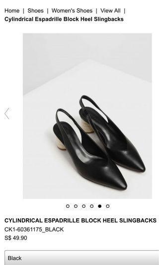 Size 34 CYLINDRICAL ESPADRILLE BLOCK HEEL