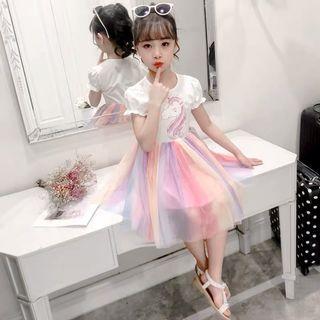 Little Unicorn Kid Dress - GFX981  Design: as attach photo  Size: 110cm, 120cm, 130cm, 140cm, 150cm, 160cm