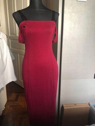 🚚 MDS maroon long dress dnd wedding