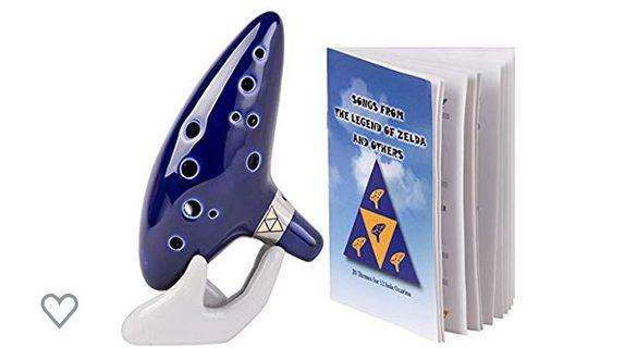(3479) Legend of Zelda Ocarina 12 Hole Alto C with Song Book (Songs From the Legend of Zelda) Display Stand Protective Bag