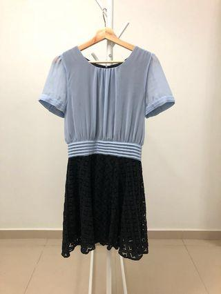 LALU Chiffon and Lace dress in Blue and Black