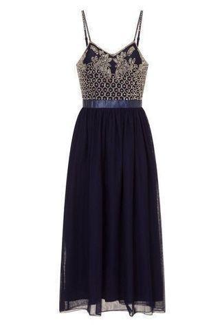 Embellished Midi Dress in Navy Blue #Paradigm