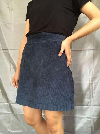 Corduroy Navy Skirt