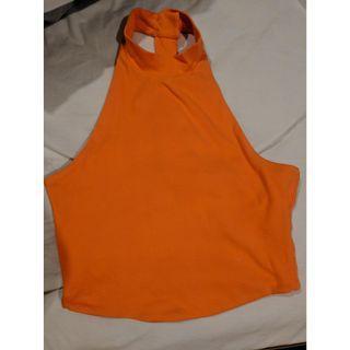 Kookai - Orange Halter / High Neck Crop Top - Size 1