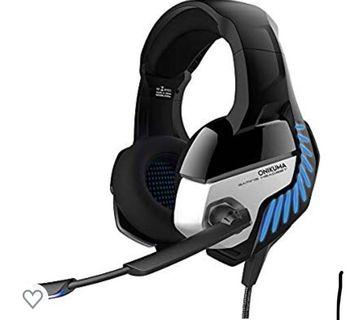 (3481) X101 Gaming Headset, ONIKUMA K5 Pro Wired Gaming Headset Stereo Bass Mic Headphone for PC Mac PS4 Black + Blue