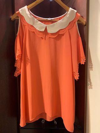 🚚 《二手》粉橘色露肩氣質上衣