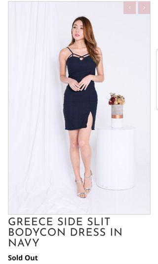 Navy Mini Dress w Slit for Dinner Dates and Outings