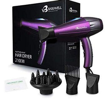(3483) 2100 Watt Powerful Professional Hair Dryer, Negative Ionic Ceramic & Far Infrared Heat Hairdryer , Low Noise Blow Dryer with Diffuser & Comb Attachments - Purple