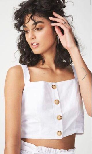 cotton on carla button front white tank top