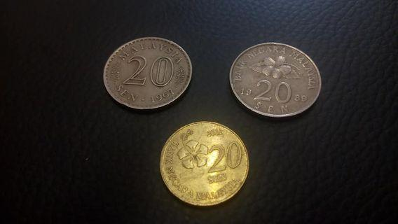 OLD COINS - 20 SEN/20 CENT : 3 GENERATION