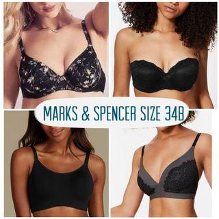 BNWOT Marks & Spencer Size 34B Lace Strapless Camisole Bralette Lounge Bra Black Floral Silk (Set of 4; not selling individually)